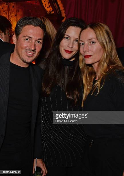 Dave Gardner Liv Tyler and Lucie de la Falaise attends the LOVE Magazine 10th birthday party with PerrierJouet at Loulou's on September 17 2018 in...