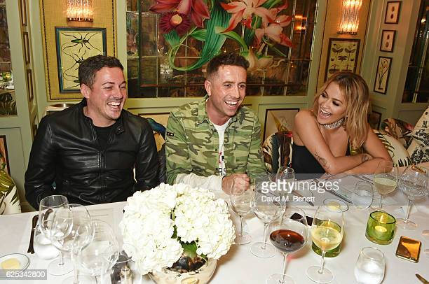 Dave Gardner Nick Grimshaw and Rita Ora attend the adidas Originals by Rita Ora dinner at The Ivy Chelsea Garden on November 23 2016 in London England