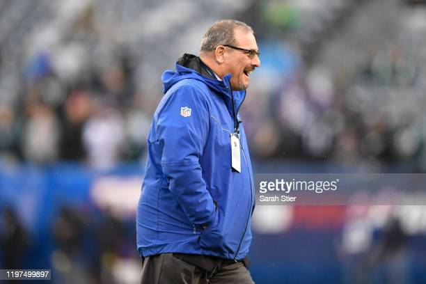 Dave Gettleman General manager of the New York Giants smiles prior to the game against the Philadelphia Eagles at MetLife Stadium on December 29 2019...