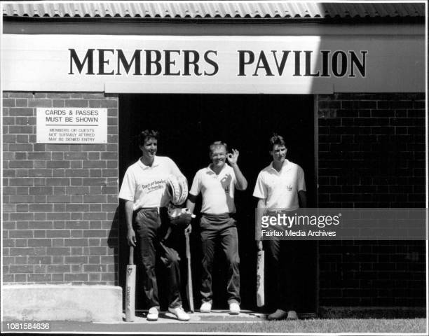 Dave Gilbert Dirk Wellham and Rod Tucker exNSW Cricketers seen here returning to the SCG now with Tasmania February 21 1989