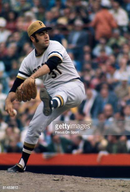 Dave Giusti of the Pittsburgh Pirates pitches who had a 000 ERA for 5 1/3 innings of work during the World Series against the Baltimore Orioles at...
