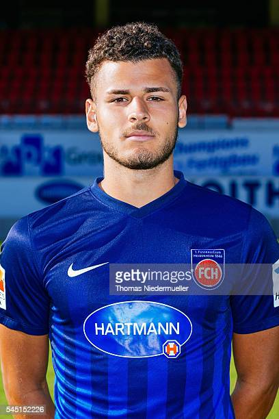 Dave Gnaase poses during the 1FC Heidenheim team presentation at VoithArena on July 5 2016 in Heidenheim Germany