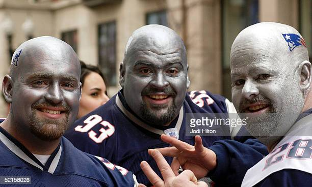 Dave Gott Mike Cuthbertson and Fred Kapala celebrate the New England Patriot's Super Bowl victory during the Super Bowl victory parade February 8...