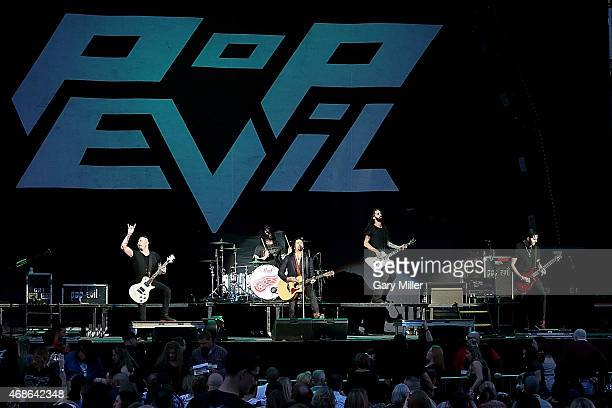 Dave Grahs Josh Marunde Leigh Kakaty Matt DiRito and Nick Fuelling of Pop Evil perform in concert at the Austin360 Amphitheater on April 4 2015 in...
