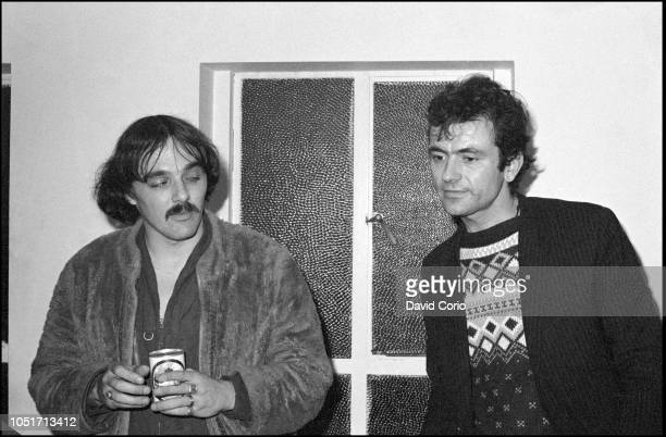 Dave Greenfield and Hugh Cornwell of The Stranglers backstage at Malvern Winter Gardens, Malvern, United Kingdom, on 6 October 1977.