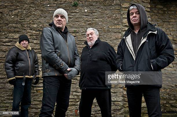 Dave Greenfield Baz Warne Jet Black and JeanJacques Burnel of English postpunk group The Stranglers photographed at their band headquarters in Frome...