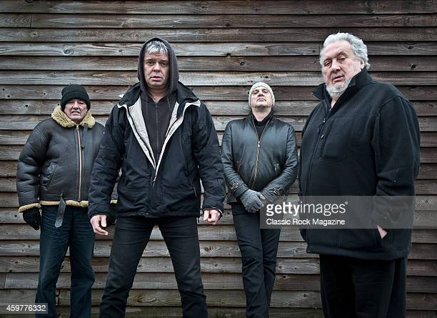Dave Greenfield JeanJacques Burnel Baz Warne and Jet Black of English postpunk group The Stranglers photographed at their band headquarters in Frome...