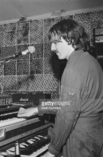 Dave Greenfield, keyboard player with the Stranglers performs on stage at the Electric Circus in Manchester on June 05, 1977.