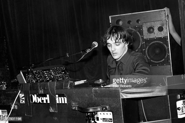 Dave Greenfield performing with The Stranglers at Irving Plaza in New York City on October 18, 1980. He is playing an Oberheim synthesizer.