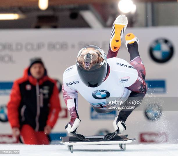 Dave Greszczyszyn of Canada competes in the first run of the men's skeleton event during the fifth of eight races within the 20172018 IBSF World Cup...