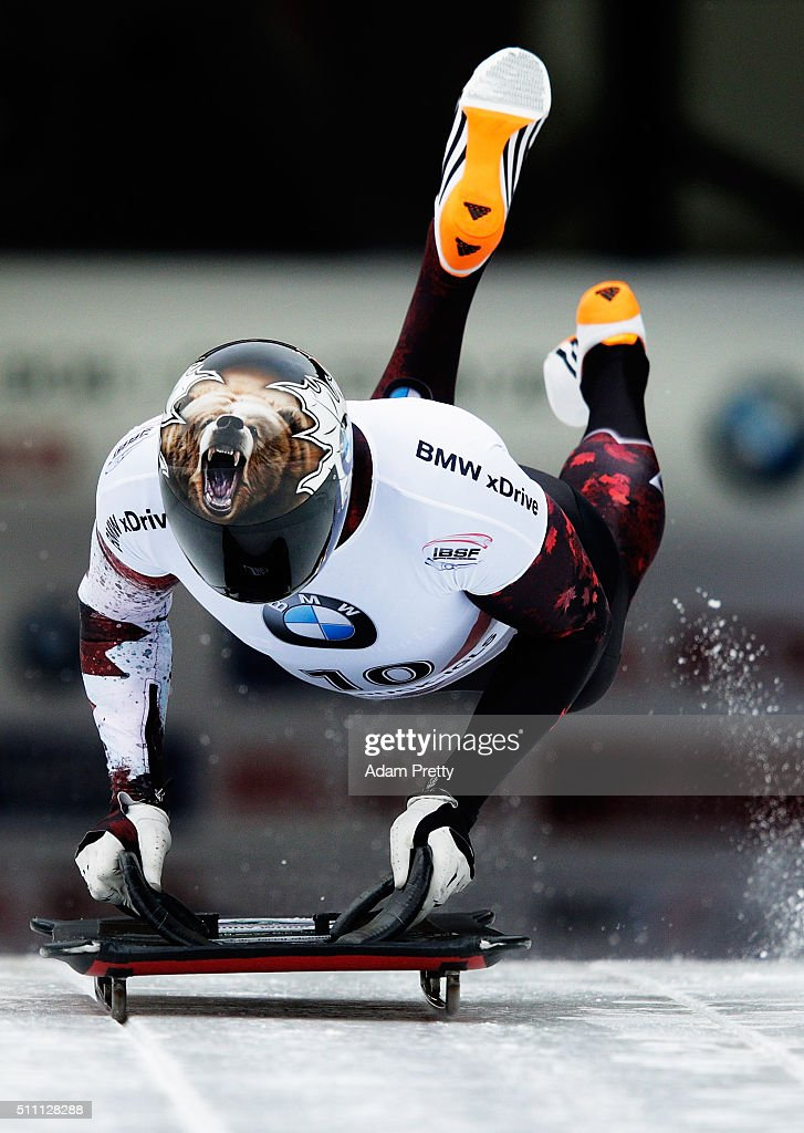 Dave Greszczyszyn of Canada completes his second run of the Men's Skeleton during Day 4 of the IBSF World Championships 2016 at Olympiabobbahn Igls on February 18, 2016 in Innsbruck, Austria.