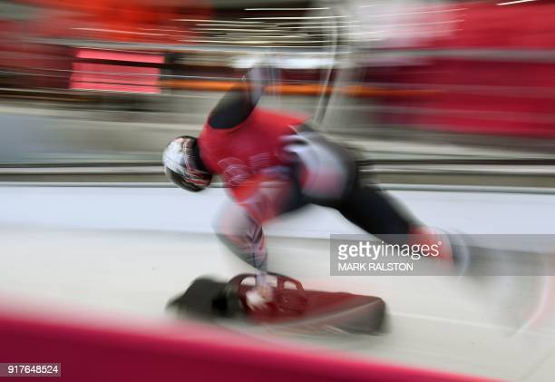 Dave Greszczyszyn of Canada starts his men's skeleton training session at the Olympic Sliding Centre during the Pyeongchang 2018 Winter Olympic Games...