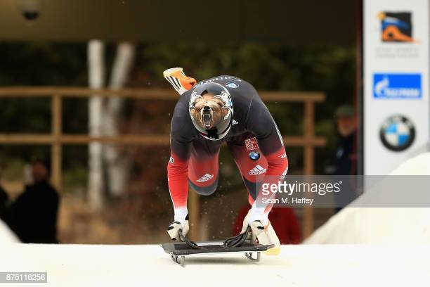 Dave Greszczyszyn of Canada takes a training run in the Men's Skeleton during the BMW IBSF Bobsleigh + Skeleton World Cup at Utah Olympic Park...