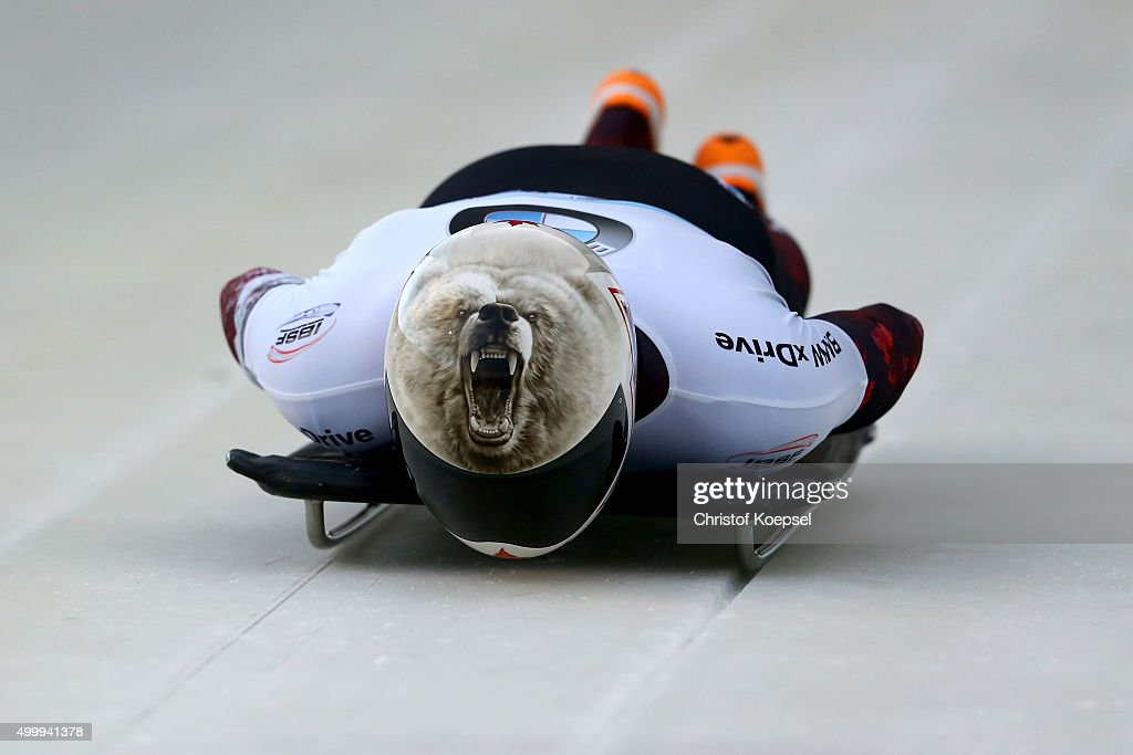 Dave Greszczzyszyn of Canada competes in his first run of the men's skeleton competition during the BMW IBSF Bob & Skeleton Worldcup at Veltins Eis-Arena on December 4, 2015 in Winterberg, Germany.