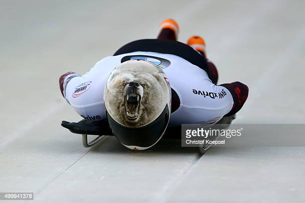 Dave Greszczzyszyn of Canada competes in his first run of the men's skeleton competition during the BMW IBSF Bob & Skeleton Worldcup at Veltins...