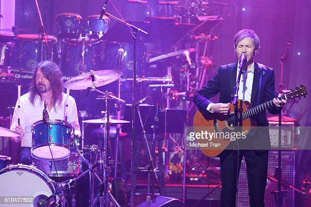 Dave Grohl and Beck perform onstage during the 2016 PreGRAMMY Gala and Salute to Industry Icons held at The Beverly Hilton Hotel on February 14 2016...