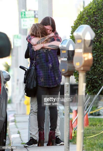 Dave Grohl and his wife Jordyn Blum are seen on February 16 2012 in Los Angeles California