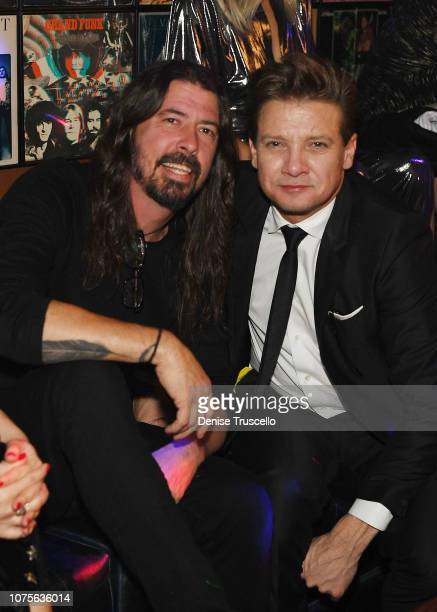 Dave Grohl and Jeremy Renner attend Lady Gaga's residency afterparty at On The Record Speakeasy And Club at Park MGM on December 28 2018 in Las Vegas...