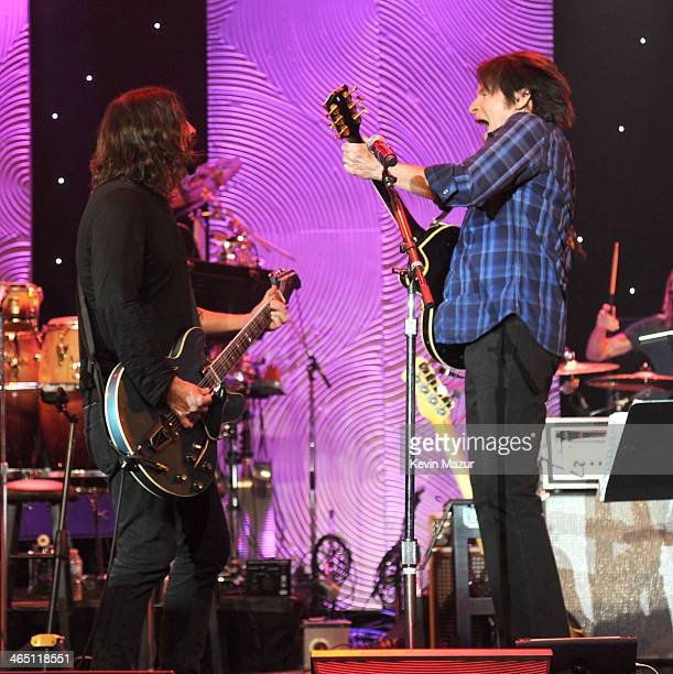 Dave Grohl and John Fogerty perform onstage during the 56th annual GRAMMY Awards PreGRAMMY Gala and Salute to Industry Icons honoring Lucian Grainge...