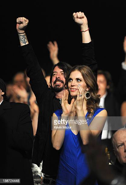 Dave Grohl and Jordyn Blum attend The 2012 MusiCares Person Of The Year Gala Honoring Paul McCartney at Los Angeles Convention Center on February 10...