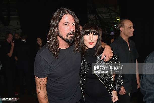 Dave Grohl and Karen O attend the 30th Annual Rock And Roll Hall Of Fame Induction Ceremony at Public Hall on April 18 2015 in Cleveland Ohio