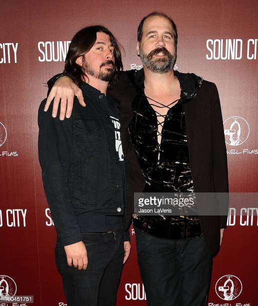 Dave Grohl and Krist Novoselic attend the premiere of 'Sound City' at ArcLight Cinemas Cinerama Dome on January 31 2013 in Hollywood California