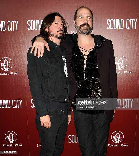 """Dave Grohl and Krist Novoselic of Nirvana attend the premiere of """"Sound City"""" at ArcLight Cinemas Cinerama Dome on January 31, 2013 in Hollywood,..."""
