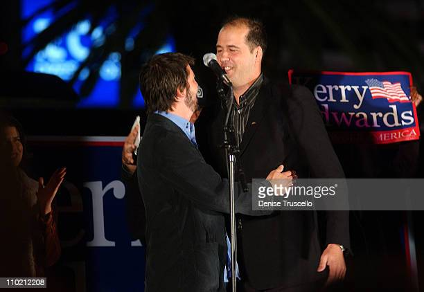 Dave Grohl and Krist Novoselic of Nirvana during Dave Grohl and Krist Novoselic Make Rare Appearance to Support John Kerry at a Early Vote Rally in...