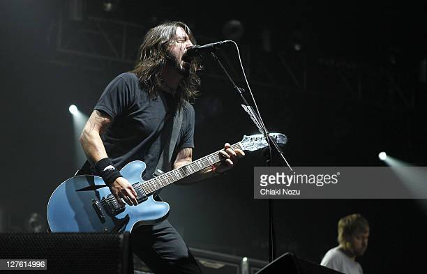 Dave Grohl and Nate Mendel of Foo Fighters perform as part of the NME Big Gig at Wembley Arena on February 25 2011 in London England