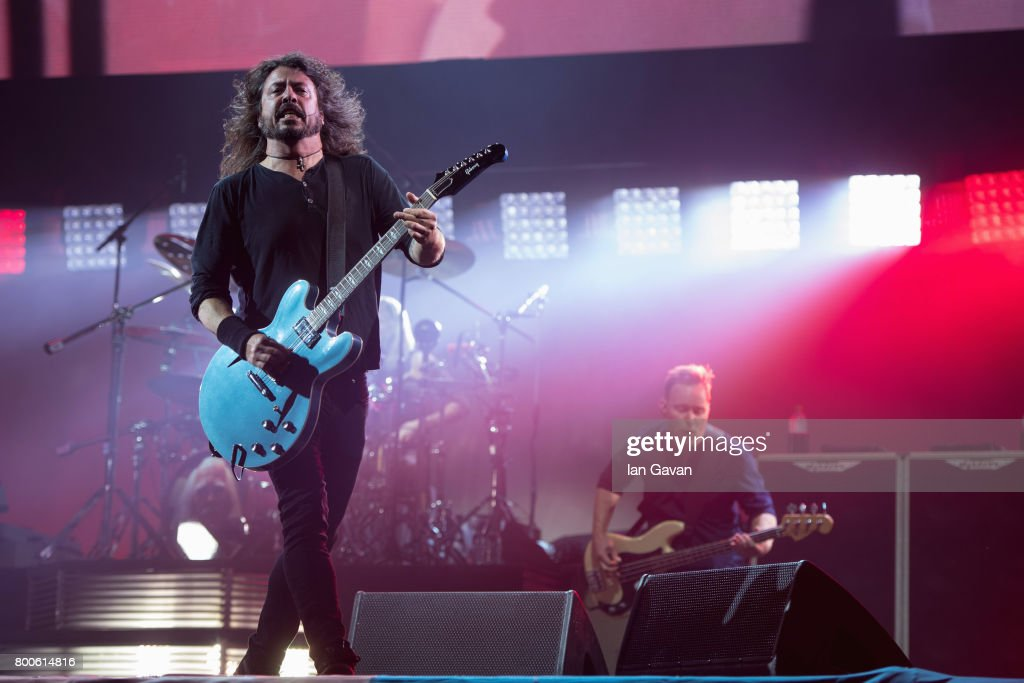 Dave Grohl and Nate Mendel of Foo Fighters perform on day 3 of the Glastonbury Festival 2017 at Worthy Farm, Pilton on June 24, 2017 in Glastonbury, England.