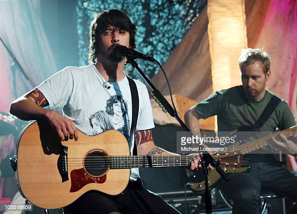 """Dave Grohl and Nate Mendel of the Foo Fighters during Foo Fighters Take Over MTV2 - """"24 Hours of Foo"""" - June 11, 2005 at MTV Building in New York..."""