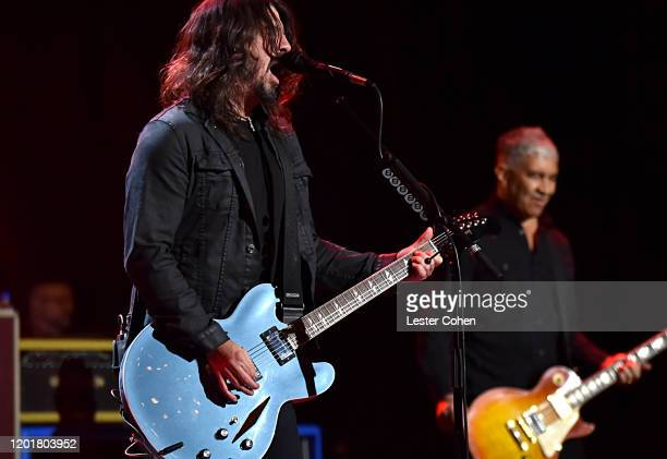 Dave Grohl and Pat Smear of Foo Fighters perform onstage during MusiCares Person of the Year honoring Aerosmith at West Hall at Los Angeles...