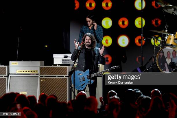 Dave Grohl and Rami Jaffee of Foo Fighters perform onstage during MusiCares Person of the Year honoring Aerosmith at West Hall at Los Angeles...