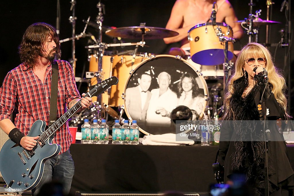 Dave Grohl (L) and Stevie Nickss perform in concert at the Sound City showcase at Stubbs BBQ during the South By Southwest Music Festival on March 14, 2013 in Austin, Texas.