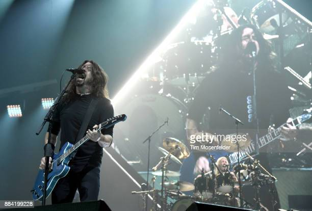 Dave Grohl and Taylor Hawkins of Foo Fighters perform in support of the band's Concrete and Gold release at Save Mart Center on December 1 2017 in...