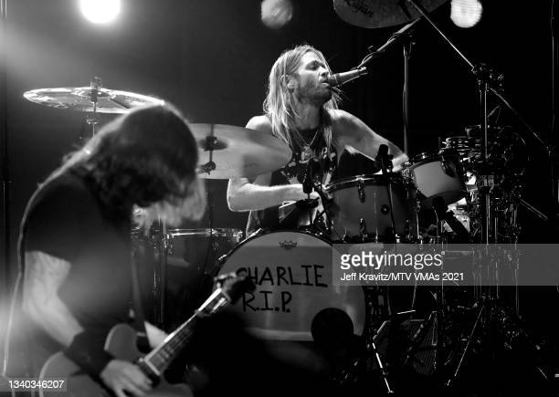 Dave Grohl and Taylor Hawkins of Foo Fighters performs onstage during the 2021 MTV Video Music Awards at Barclays Center on September 12, 2021 in the...