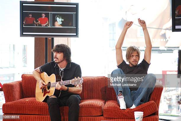 """Dave Grohl and Taylor Hawkins of the Foo Fighters during Foo Fighters Take Over MTV2 - """"24 Hours of Foo"""" - June 11, 2005 at MTV Building in New York..."""