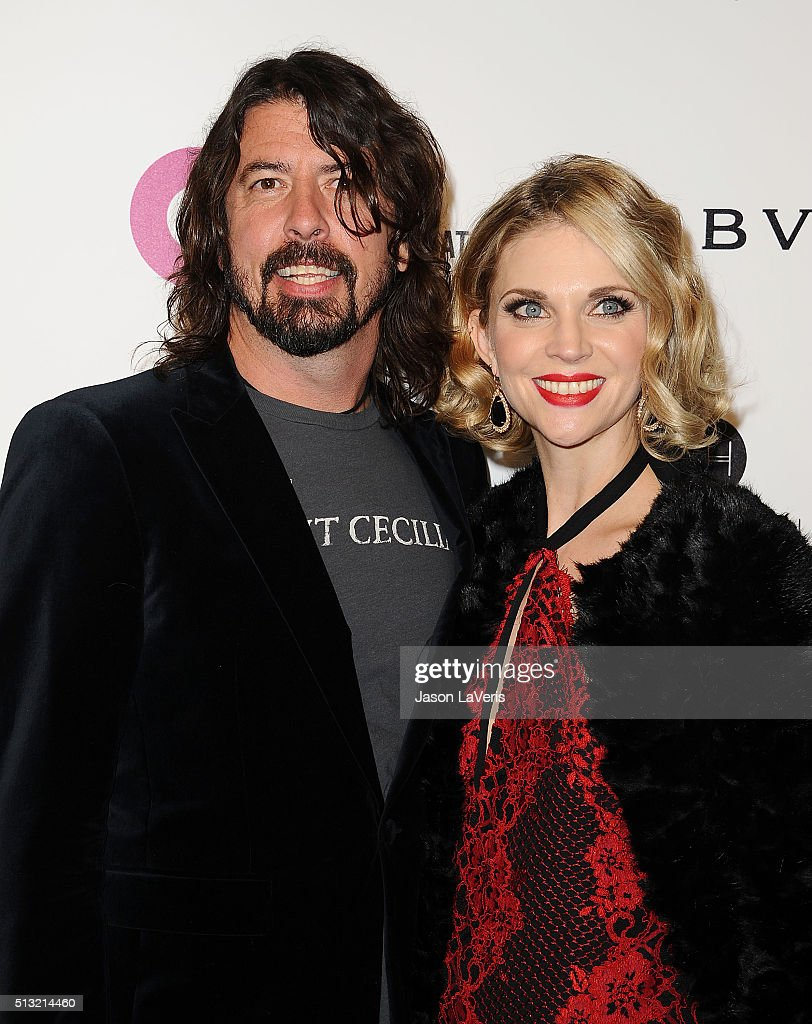 Dave Grohl and wife Jordyn Blum attend the 24th annual Elton John AIDS Foundation's Oscar viewing party on February 28, 2016 in West Hollywood, California.