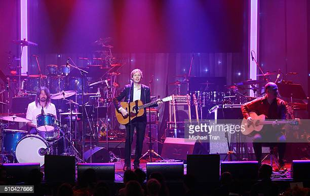 Dave Grohl Beck and Krist Novoselic perform onstage during the 2016 PreGRAMMY Gala and Salute to Industry Icons held at The Beverly Hilton Hotel on...