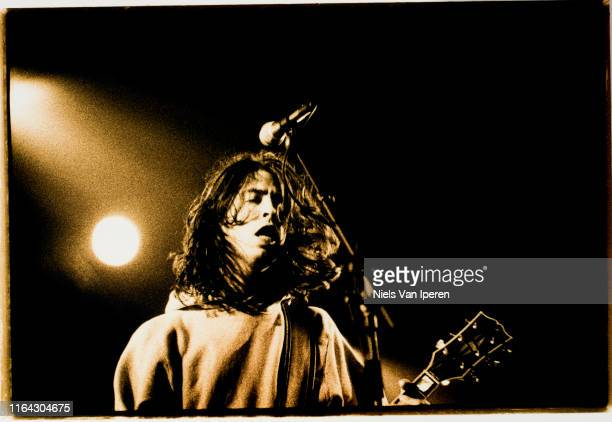 Dave Grohl, Foo Fighters, performing on stage, Lowlands, Biddinghuizen, Netherlands, 27th August 1995.