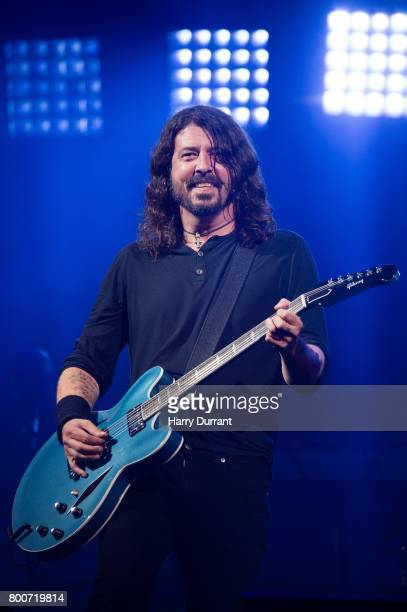 Dave Grohl from the Foo Fighters performs on the Pyramid Stage on day 3 of the Glastonbury Festival 2017 at Worthy Farm Pilton on June 24 2017 in...