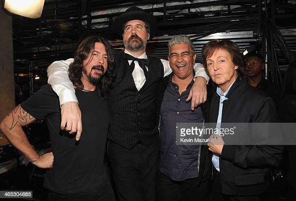 Dave Grohl, Krist Novoselic and Paul McCartney attend the 56th GRAMMY Awards at Staples Center on January 26, 2014 in Los Angeles, California.