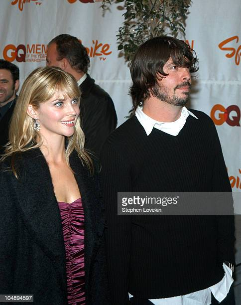 Dave Grohl of Foo Fighters and wife Jordyn Blum during Spike TV Presents 2003 GQ Men of the Year Awards Arrivals at The Regent Wall Street in New...