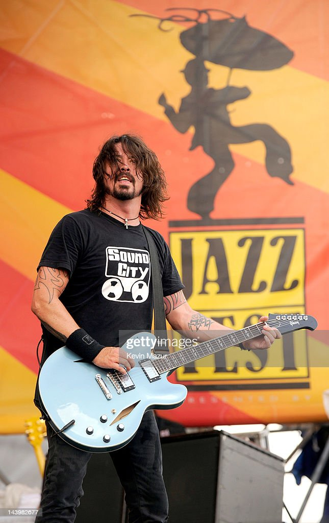 Dave Grohl of Foo Fighters performs during the 2012 New Orleans Jazz & Heritage Festival at the Fair Grounds Race Course on May 6, 2012 in New Orleans, Louisiana.