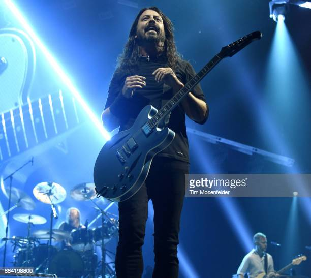 Dave Grohl of Foo Fighters performs in support of the band's Concrete and Gold release at Save Mart Center on December 1 2017 in Fresno California