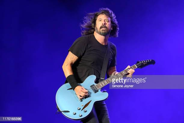 Dave Grohl of Foo Fighters performs live on the Main Stage during day three of Reading Festival 2019 at Richfield Avenue on August 25, 2019 in...