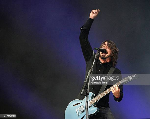 Dave Grohl of Foo Fighters performs on day three of the Pinkpop Festival at Megaland on June 13 2011 in Landgraaf Netherlands