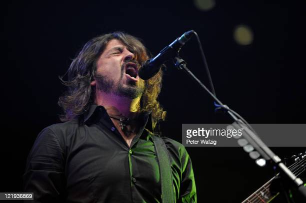 Dave Grohl of Foo Fighters performs on stage at the LanxessArena on August 23 2011 in Cologne Germany