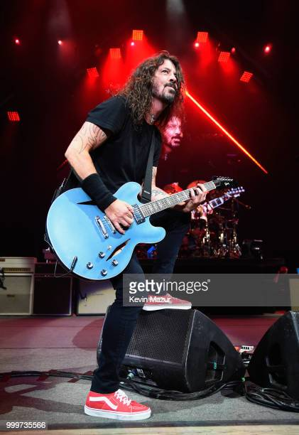 Dave Grohl of Foo Fighters performs on stage during their Concrete and Gold tour at Northwell Health at Jones Beach Theater on July 14 2018 in...