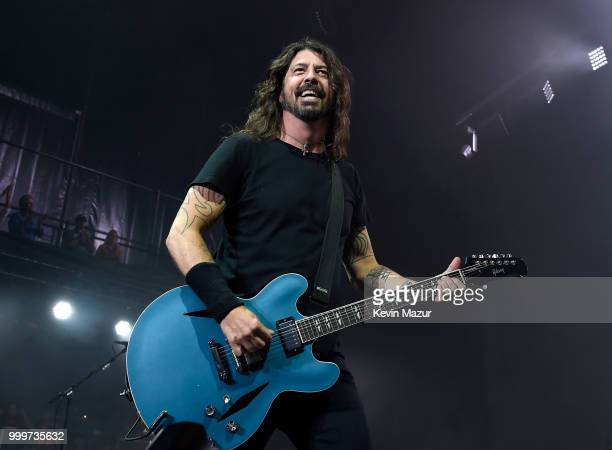 Dave Grohl of Foo Fighters performs on stage during their 'Concrete and Gold' tour at Northwell Health at Jones Beach Theater on July 14 2018 in...
